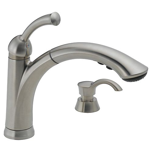 Lewiston Single Handle Pull-Out Kitchen Faucet with Soap Dispenser in Stainless Steel