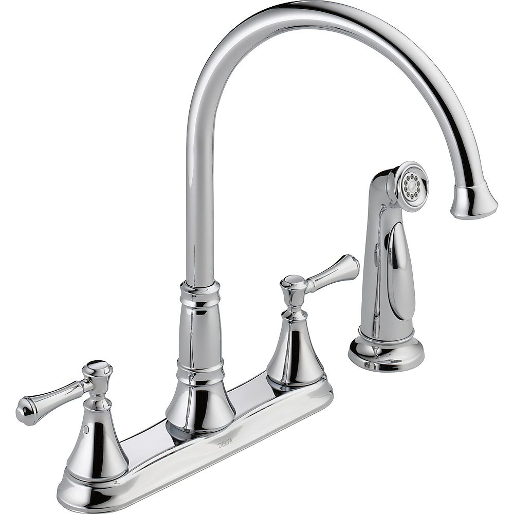 Delta Cassidy Two Handle Kitchen Faucet with Spray in Chrome