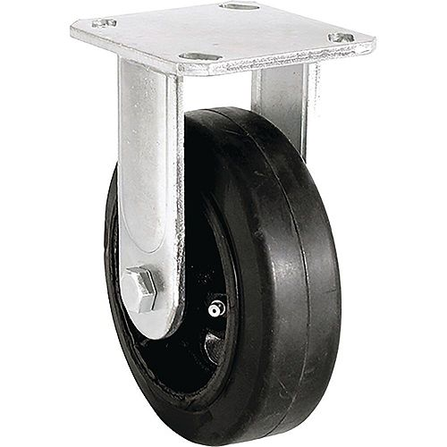 6 inch Mold-On Rubber Rigid Caster with 410 lb. Load Rating