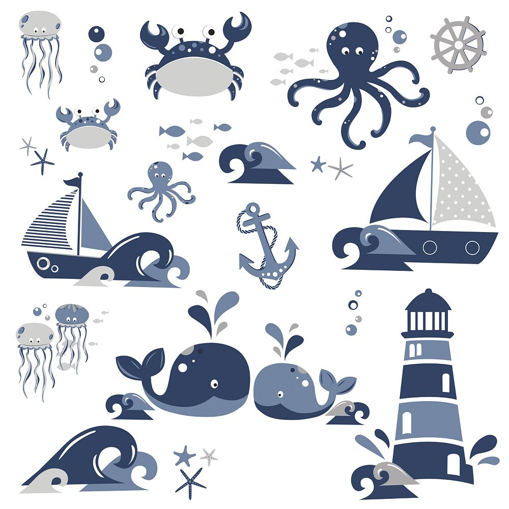 Roommates Nautical Sea Friends Wall Decals The Home Depot Canada