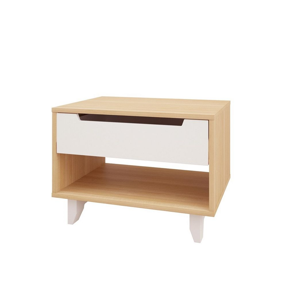 Nexera Nordik 340139 1-Drawer Night Stand, White and Natural Maple