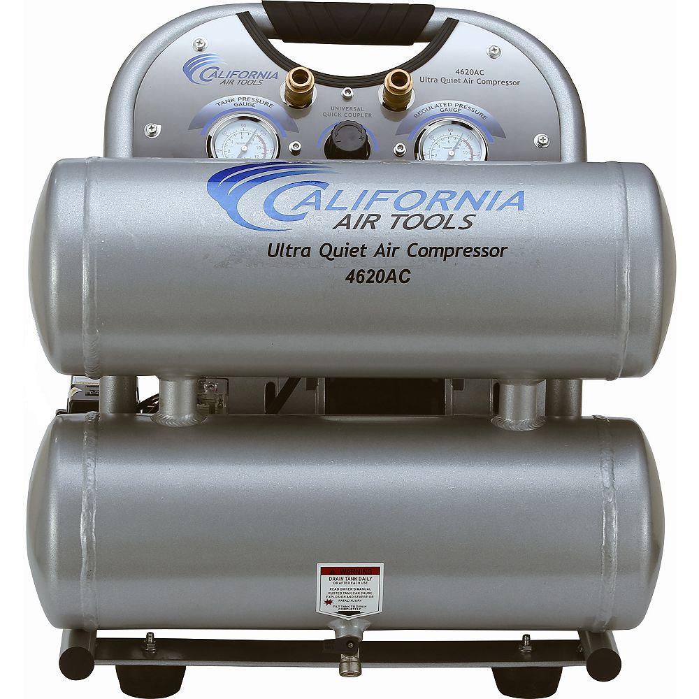 California Air Tools 4620AC Ultra Quiet and Oil-Free 2.0 Hp, 15.1 L Aluminum Twin Tank Electric Portable Air Compress