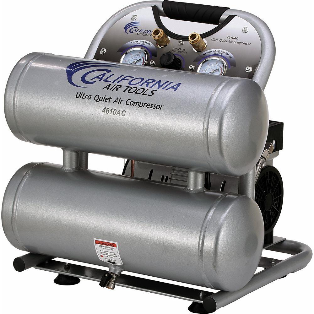 California Air Tools 4610AC Ultra Quiet and Oil-Free 1.0 Hp, 17.4 L Aluminum Twin Tank Electric Portable Air Compressor