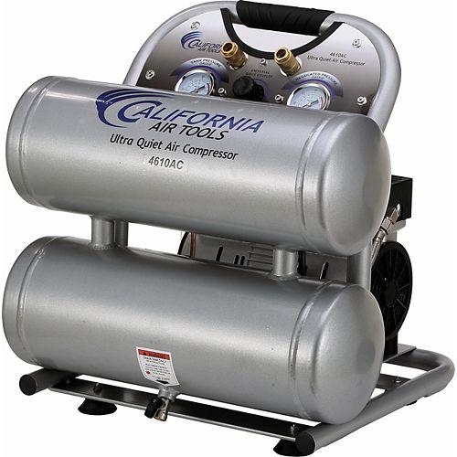 4610AC Ultra Quiet and Oil-Free 1.0 Hp, 17.4 L Aluminum Twin Tank Electric Portable Air Compressor