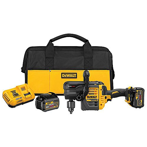 FLEXVOLT 60V MAX Lithium-Ion Cordless Brushless 1/2-inch Stud and Joist Drill w/ (2) Batteries 2Ah, Charger and Bag