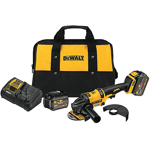 FLEXVOLT 60V MAX Li-Ion Cordless Brushless 4-1/2-inch Angle Grinder w/ (2) Batteries 2Ah, Charger and Bag