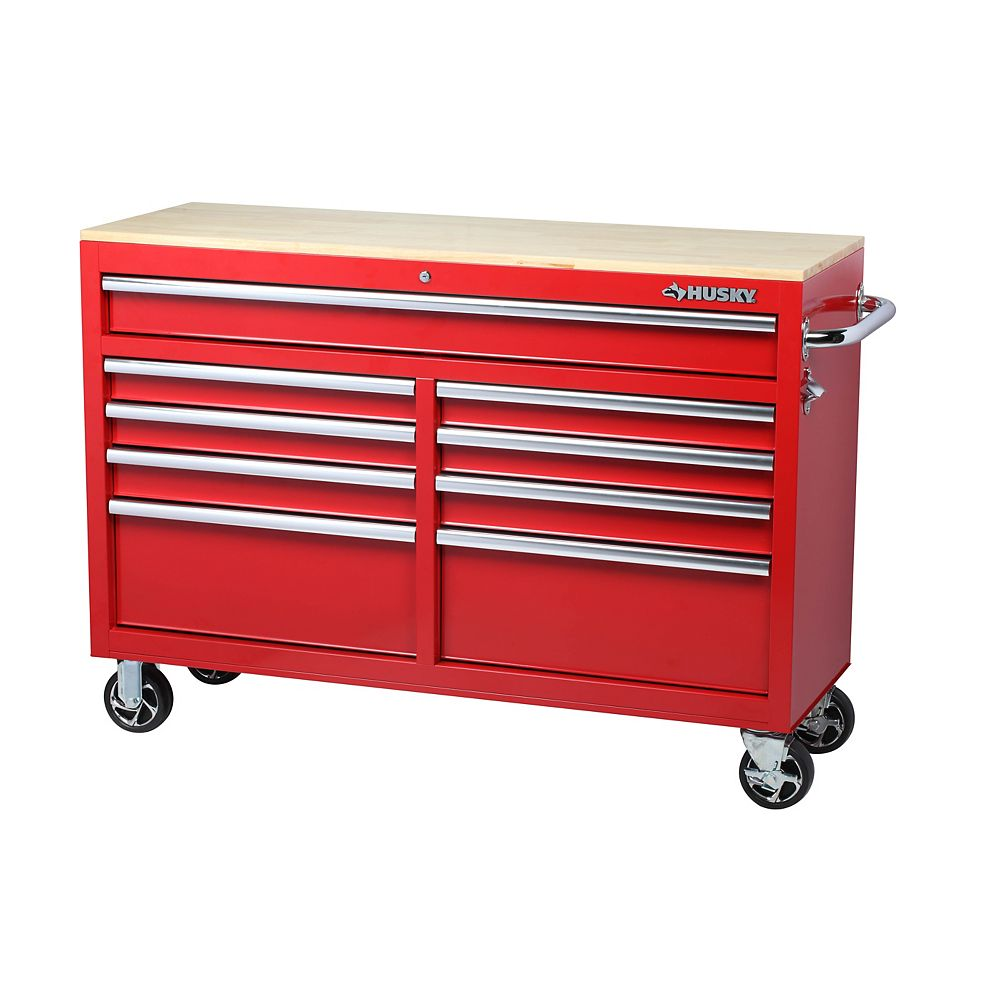 Husky 52-inch 9-Drawer Mobile Tool Storage Cabinet and Work Centre in Red