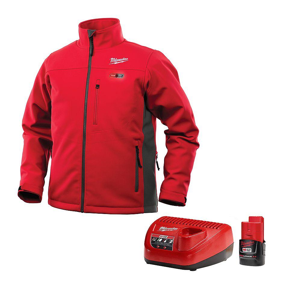 Milwaukee Tool M12 Heated Jacket Kit - Red/Gray - Large