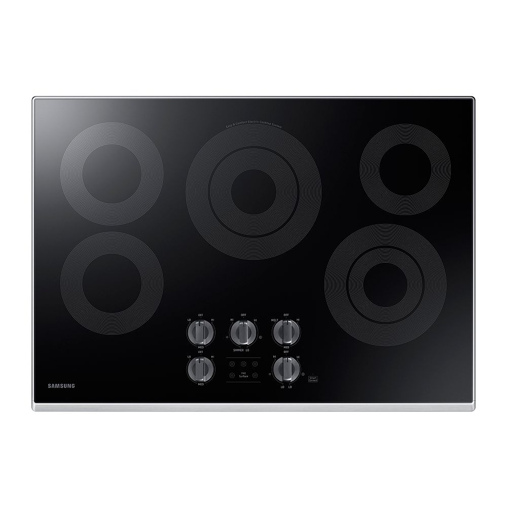 Samsung 30-inch Radiant Surface Electric Cooktop in Stainless Steel with 5 Elements and Wi-Fi