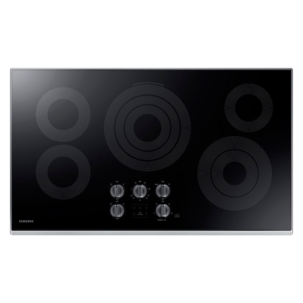 Samsung 36-inch Radiant Electric Cooktop in Stainless Steel with 5 Elements and Wi-Fi