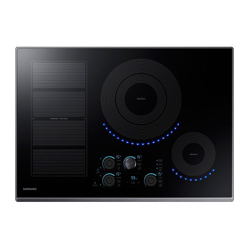 30-inch Induction Cooktop in Black Stainless Steel with 5 Elements and Flex Zone Element