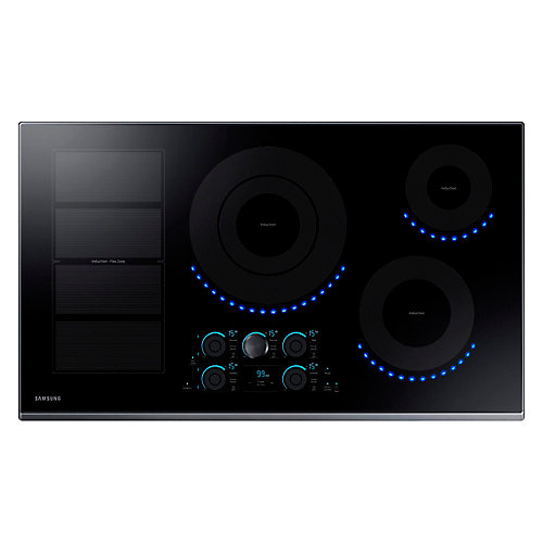 36-inch Induction Cooktop in Black Stainless Steel with 5 Elements and Flex Zone Element