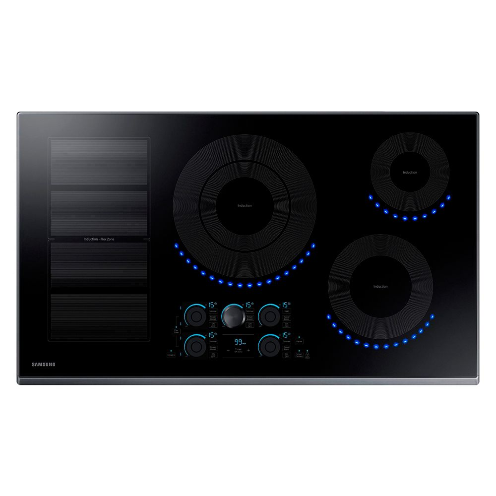 Samsung 36-inch Induction Cooktop in Black Stainless Steel with 5 Elements and Flex Zone Element