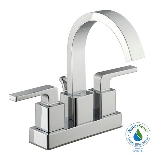4-Inch Centerset 2-Handle Mid Arc Bathroom Faucet with Lever Handles in Chrome