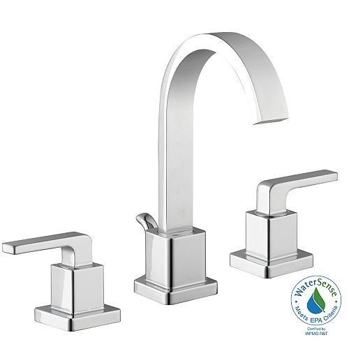 Farrington 8-inch Widespread 2-Handle Mid Arc Bathroom Faucet with Lever Handles in Chrome