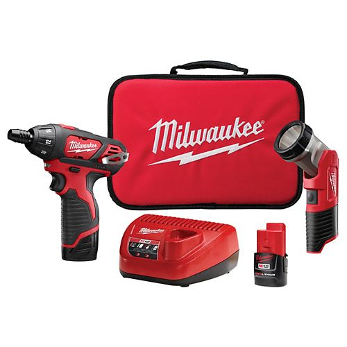 M12 12V Lithium-Ion Cordless 1/4 -inch Hex Screwdriver/LED Worklight Kit W/(2) 1.5Ah Batteries,Bit Set & Bag