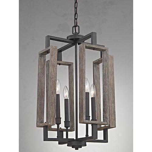 Luminaire suspendu Zurich, bronze vieilli, 4ampoules, 60W, panneaux de bois rustique