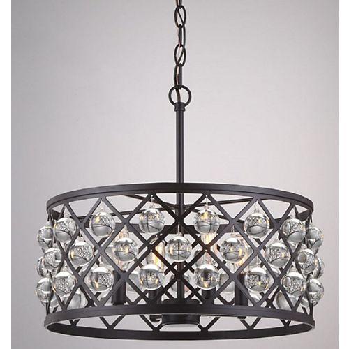 Luminaire suspendu Pennington Crest, bronze antique, 4ampoules, 60W, sphères de cristal