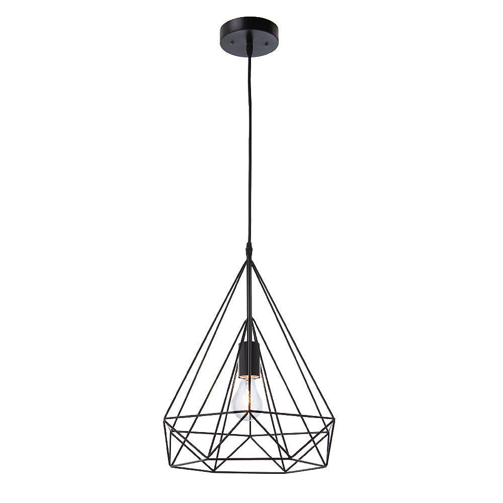 Home Decorators Collection Luminaire suspendu Izaro, noir, une ampoule, 60 W, diffuseur conique grillagé en métal