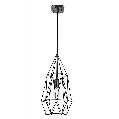 Luminaire suspendu Izaro, noir, une ampoule, 60W, diffuseur grillagé en métal