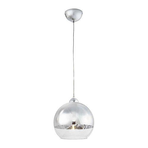 Luminaire suspendu Jaiden, chromé, une ampoule, 40W, diffuseur en verre clair