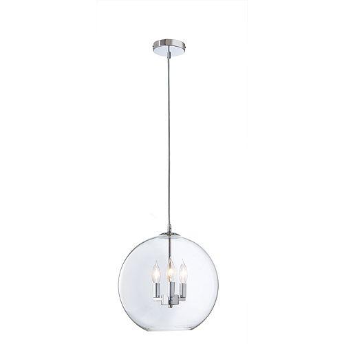 Luminaire suspendu Rinestra, chromé, 3ampoules, 40W, diffuseur en verre clair