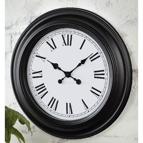 22-inch Roman Numeral Wall Clock with Black Frame