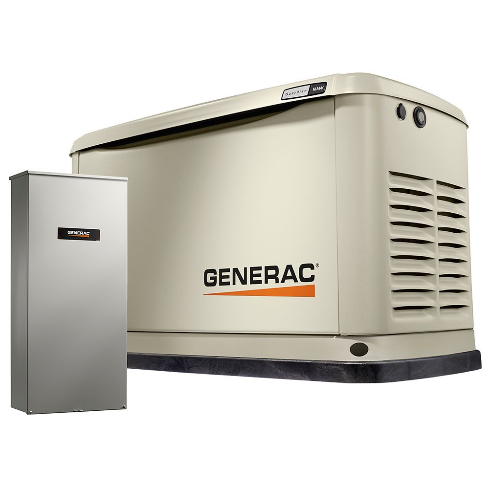 Generac 16000W LP/NG Air Cooled Standby Generator w/ 16 Circuit 100 Amp Transfer Switch & Wi-Fi