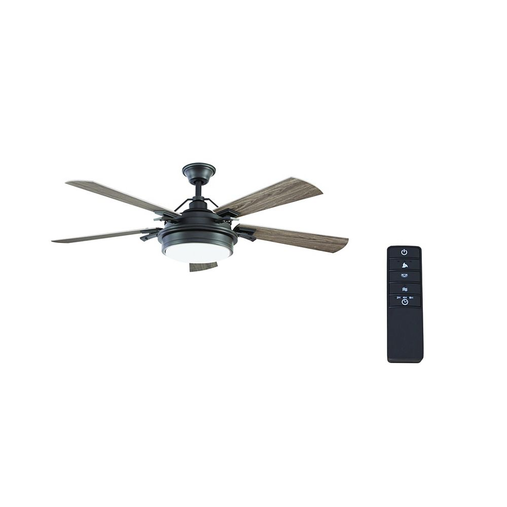 Home Decorators Collection Westerleigh 54-inch Natural Iron Ceiling Fan with Integrated LED Light and Remote Control