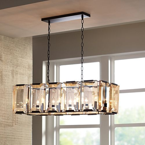 10-Light 60W Satin Black Pendant with Amber Glass Accents