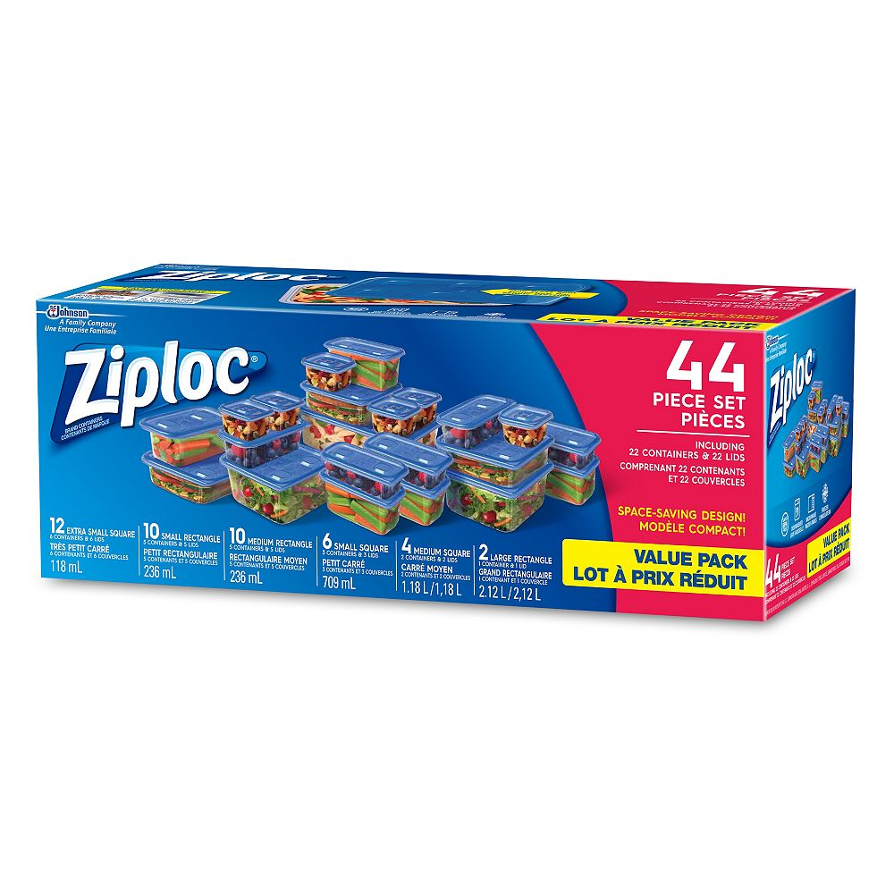Ziploc One Press Seal Containers (44-Pack)