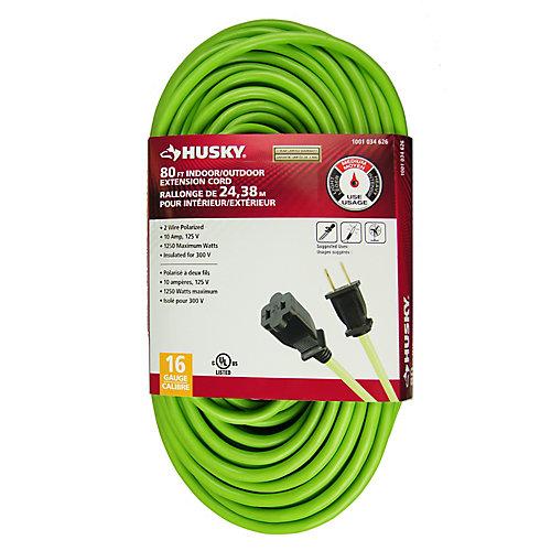 80 Feet Indoor/Outdoor Neon Green Extension Cord