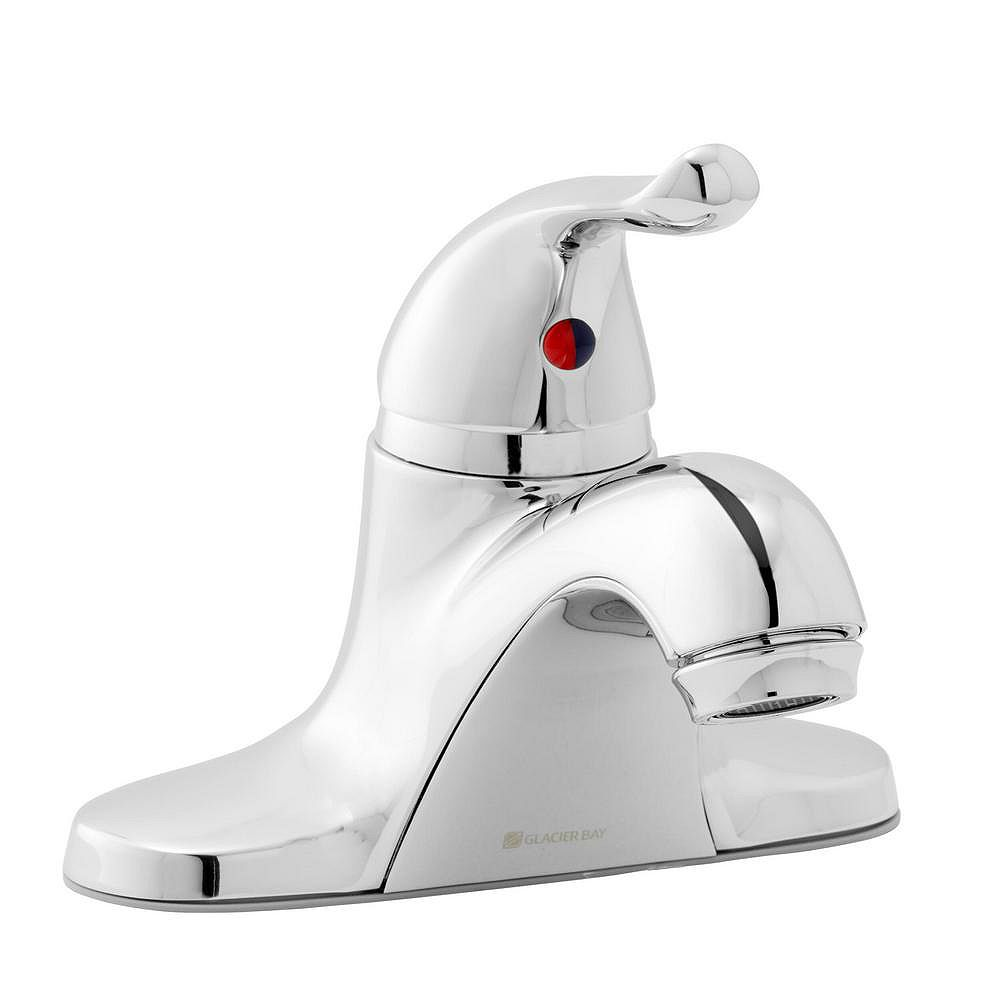 Glacier Bay Constructor Centerset (4-inch) 1-Handle Low Arc Bathroom Faucet in Chrome with Lever Handle