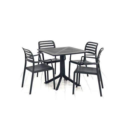 Clip 31.5 x 31.5-inch Patio Dining Table with 4 Costa Armchairs in Anthracite