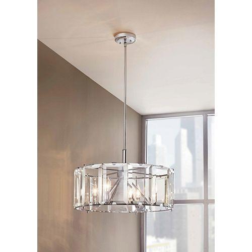 Luminaire suspendu circulaire Alannis, chrome poli, 4ampoules, ornementé de verre biseauté