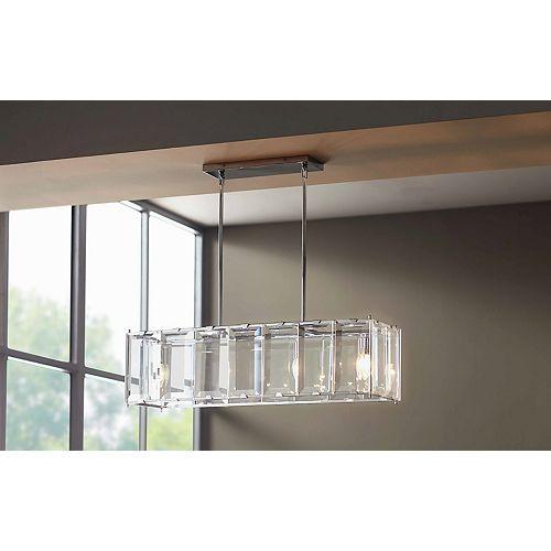 Luminaire suspendu rectangulaire Alannis, chrome poli, 4ampoules, ornementé de verre biseauté