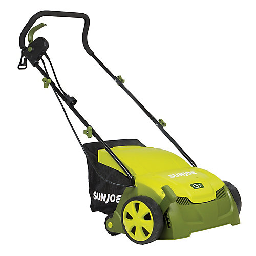 13-inch 12 Amp Electric Scarifier + Lawn Dethatcher with Collection Bag