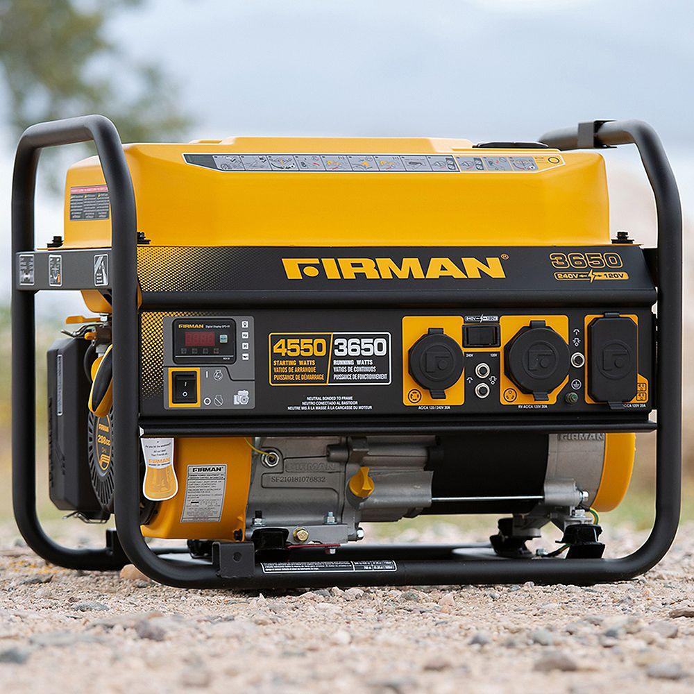 Firman Generators 4550/3650 Watt 120/240V 30A Recoil Start Gasoline Powered Portable Generator cETL Certified