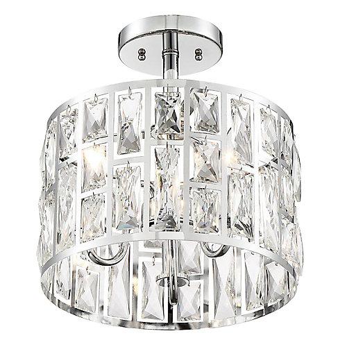 3-Light Chrome Semi-Flushmount Ceiling Light with Crystal Glass Shade