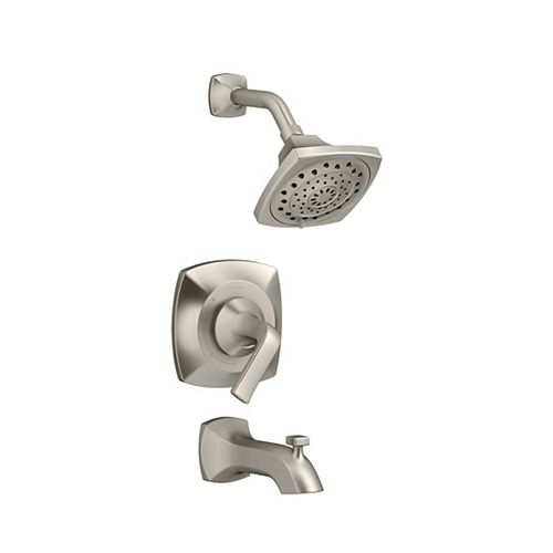 Rubicon Rite-Temp 3-Spray Wall-Mount Tub  Shower Faucet in Brushed Nickel with Showerhead