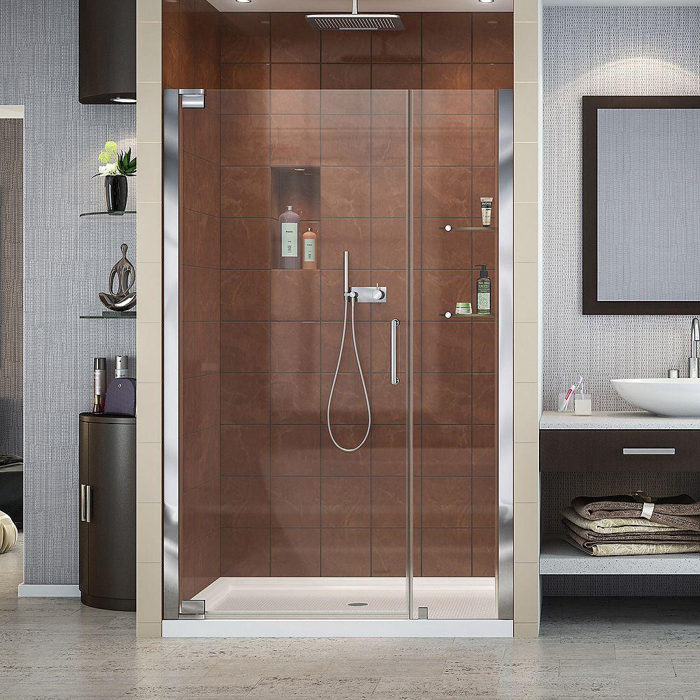 DreamLine Elegance 42-1/2-inch to 44-1/2-inch x 72-inch Semi-Frameless Pivot Shower Door in Chrome