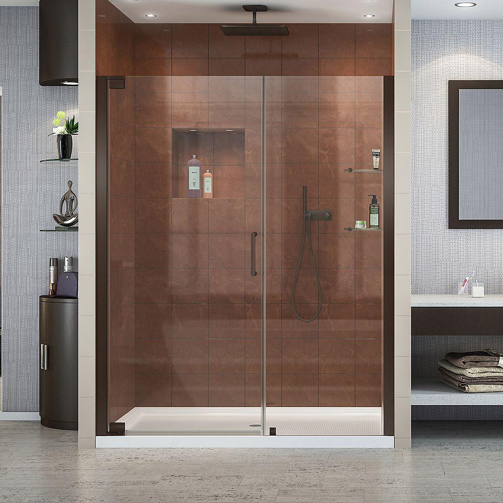 DreamLine Elegance 52-3/4-inch to 54-3/4-inch x 72-inch Semi-Frameless Pivot Shower Door in Oil Rubbed Bronze