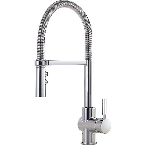 Struct Single-Handle Pull-Down Kitchen Faucet with Spring Spout in Chrome
