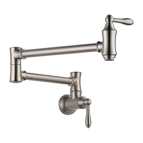 Traditional Wall Mount Pot Filler Faucet in Stainless Steel