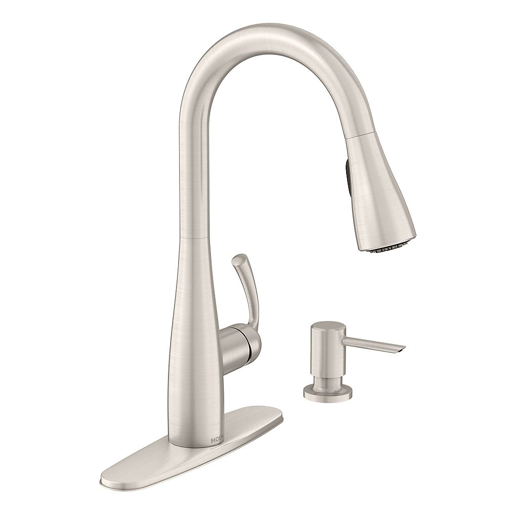 Moen Essie Single Handle Pull Down Sprayer Kitchen Faucet With Reflex And Power Clean In S The Home Depot Canada