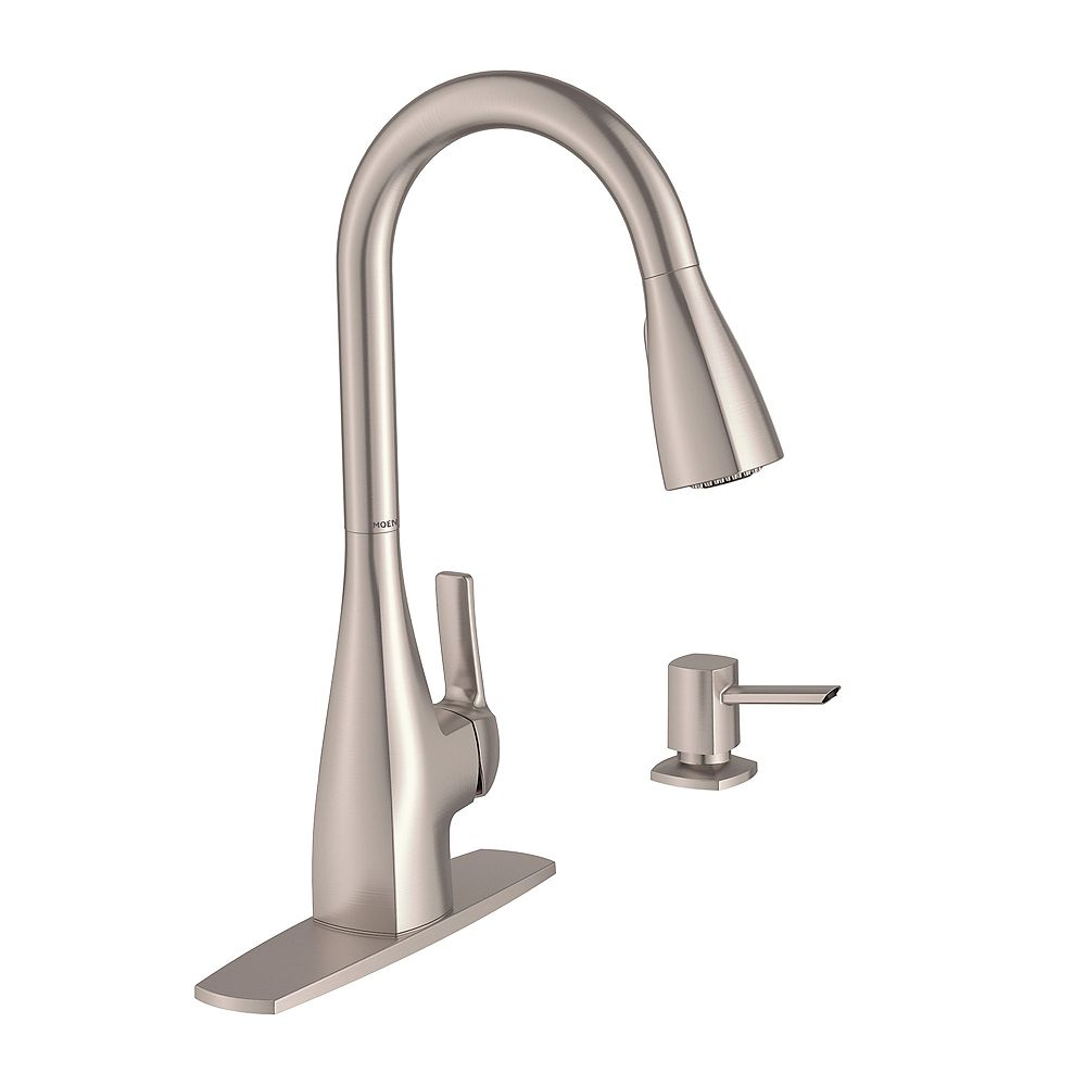 Moen Kiran Single Handle Pull Down Sprayer Kitchen Faucet With Power Clean Tm In Spot Res The Home Depot Canada