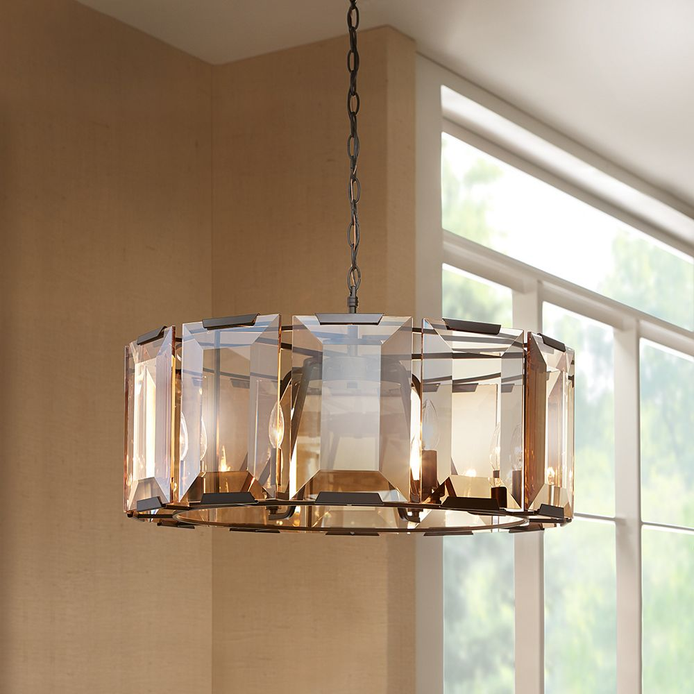 32 Light 320W Satin Black Pendant with Amber Glass Accents