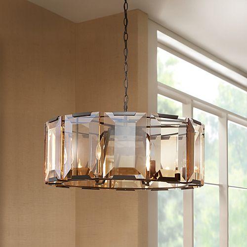 Luminaire suspendu, noir satiné, 6ampoules, 60W, ornementé de verre ambré