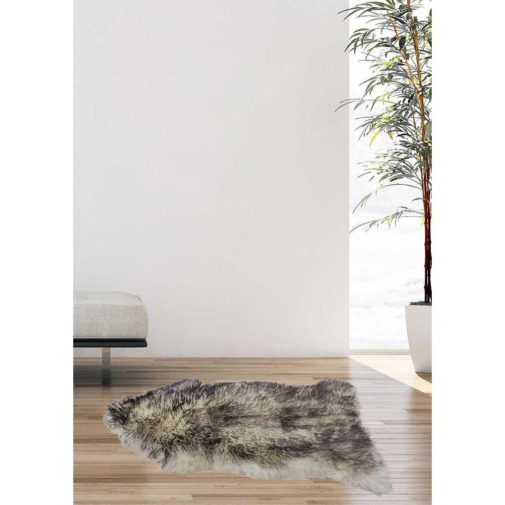 Torabi Rugs Luxurious Grey 2 ft. x 3 ft. Indoor Contemporary Irregular Area Rug