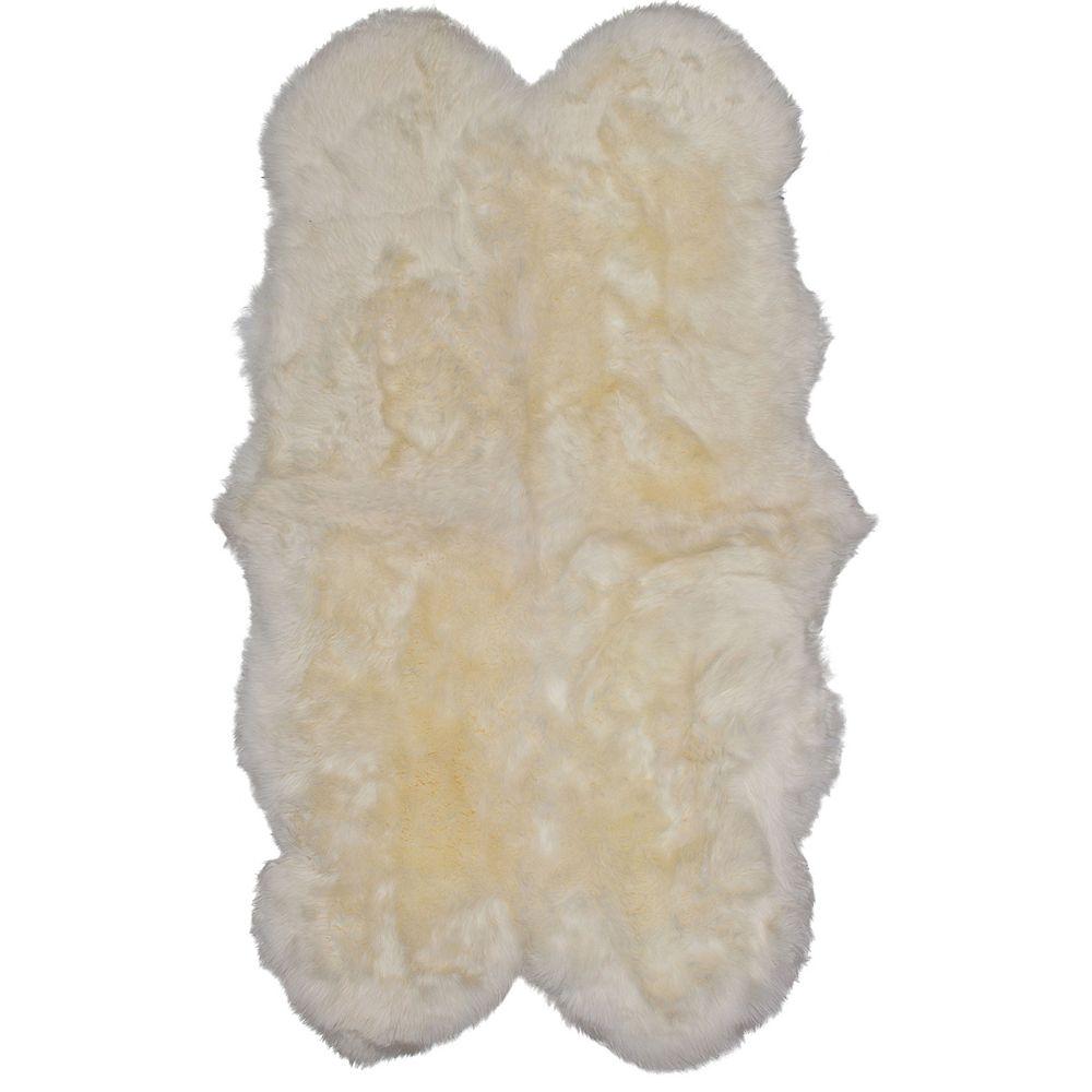 Torabi Rugs Carpette d'intérieur, 3 pi 6 po x 6 pi, style contemporain, forme irrégulière, blanc cassé Luxurious